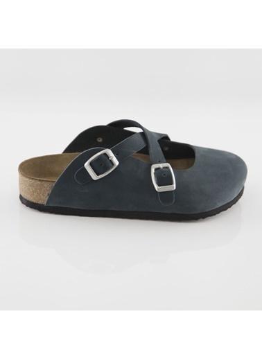 Ballerins Hakiki Deri Sandalet Lacivert
